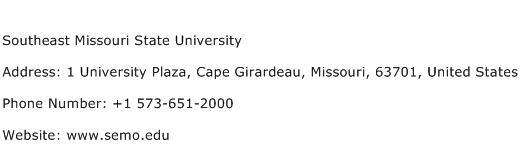 Southeast Missouri State University Address Contact Number