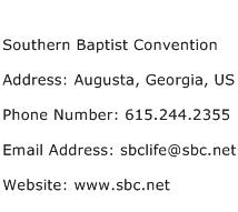 Southern Baptist Convention Address Contact Number
