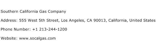 Southern California Gas Company Address Contact Number