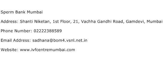 Sperm Bank Mumbai Address Contact Number