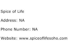 Spice of Life Address Contact Number