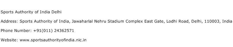 Sports Authority of India Delhi Address Contact Number