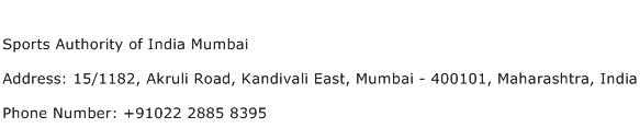 Sports Authority of India Mumbai Address Contact Number
