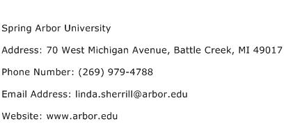 Spring Arbor University Address Contact Number