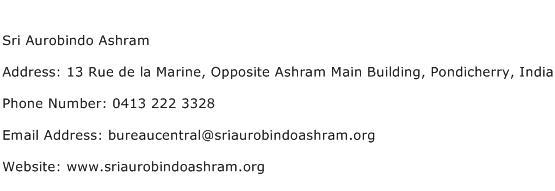 Sri Aurobindo Ashram Address Contact Number