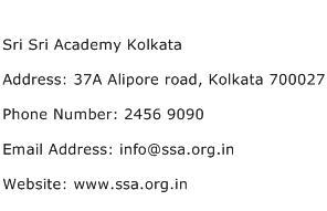 Sri Sri Academy Kolkata Address Contact Number