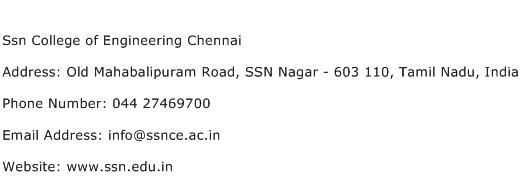 Ssn College of Engineering Chennai Address Contact Number