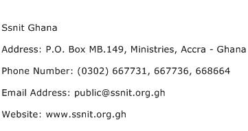 Ssnit Ghana Address Contact Number