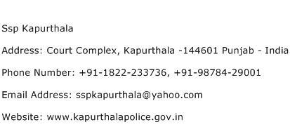 Ssp Kapurthala Address Contact Number