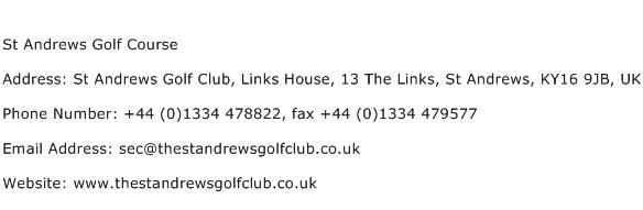 St Andrews Golf Course Address Contact Number