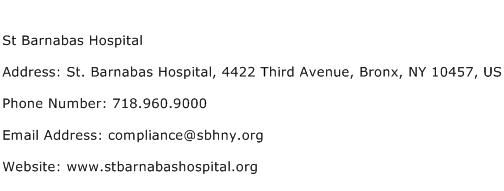 St Barnabas Hospital Address Contact Number