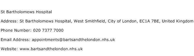 St Bartholomews Hospital Address Contact Number