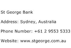 St George Bank Address Contact Number