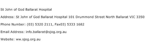 St John of God Ballarat Hospital Address Contact Number