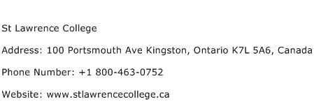 St Lawrence College Address Contact Number