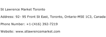 St Lawrence Market Toronto Address Contact Number