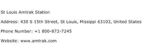 St Louis Amtrak Station Address Contact Number
