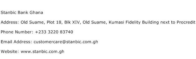 Stanbic Bank Ghana Address Contact Number