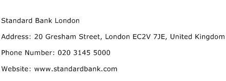Standard Bank London Address Contact Number