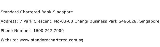 Standard Chartered Bank Singapore Address Contact Number