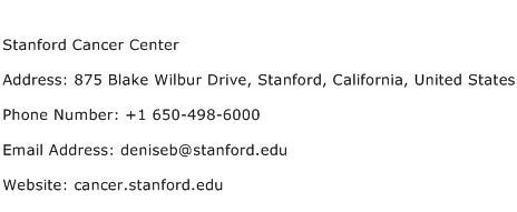 Stanford Cancer Center Address Contact Number