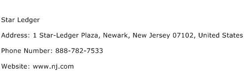 Star Ledger Address Contact Number