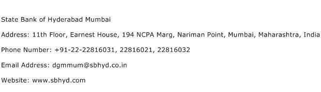 State Bank of Hyderabad Mumbai Address Contact Number