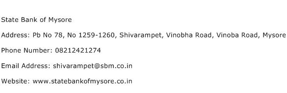 State Bank of Mysore Address Contact Number