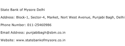 State Bank of Mysore Delhi Address Contact Number