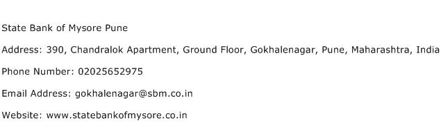 State Bank of Mysore Pune Address Contact Number