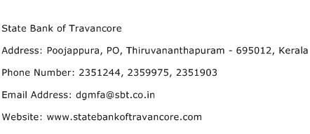 State Bank of Travancore Address Contact Number