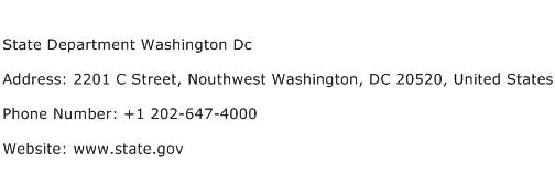 State Department Washington Dc Address Contact Number