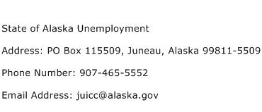 State of Alaska Unemployment Address Contact Number