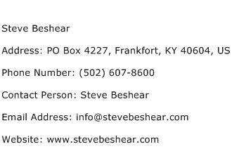 Steve Beshear Address Contact Number