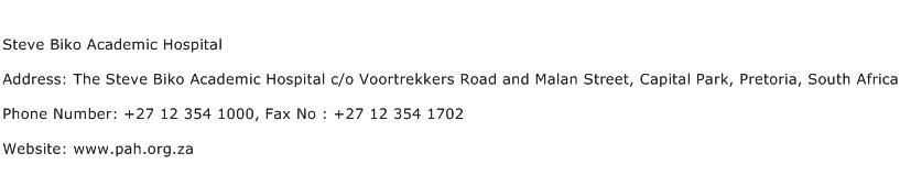 Steve Biko Academic Hospital Address Contact Number