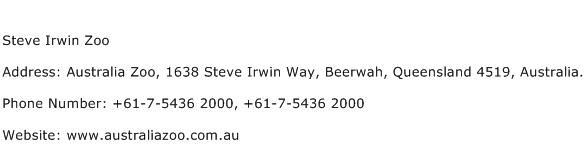 Steve Irwin Zoo Address Contact Number