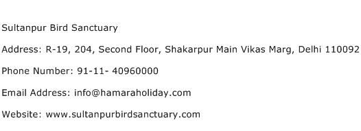 Sultanpur Bird Sanctuary Address Contact Number