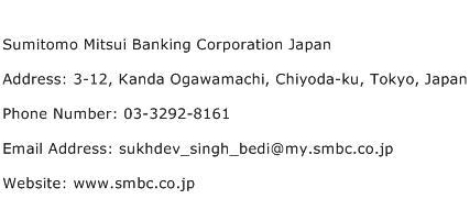 Sumitomo Mitsui Banking Corporation Japan Address Contact Number