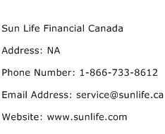 Sun Life Financial Canada Address Contact Number