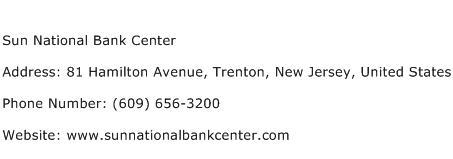 Sun National Bank Center Address Contact Number