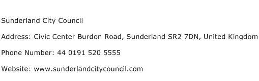 Sunderland City Council Address Contact Number