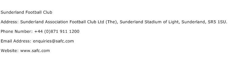 Sunderland Football Club Address Contact Number