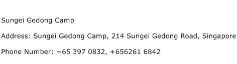 Sungei Gedong Camp Address Contact Number