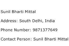 Sunil Bharti Mittal Address Contact Number