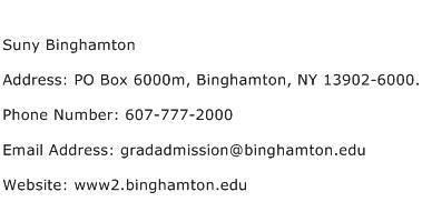 Suny Binghamton Address Contact Number