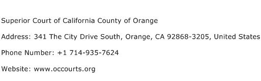 Superior Court of California County of Orange Address Contact Number