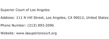 Superior Court of Los Angeles Address Contact Number