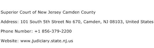 Superior Court of New Jersey Camden County Address Contact Number