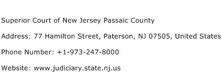 Superior Court of New Jersey Passaic County Address Contact Number