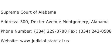 Supreme Court of Alabama Address Contact Number